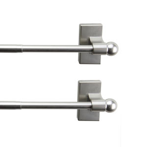 Satin Nickel 28-Inch Magnetic Rod, Set of 2
