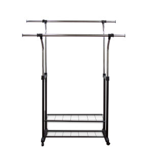 Black 60-Inch Clothes Rack with Utility Shelves