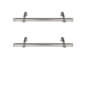 Bun Satin Nickel 20-Inch Side Curtain Rod, Set of 2