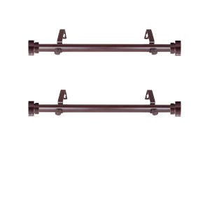 Mahogany 20-Inch Side Curtain Rod, Set of 2