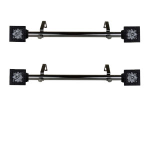 Ophelia Black 20-Inch Side Curtain Rod, Set of 2