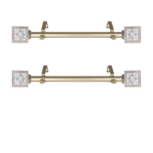 Ophelia Light Gold 20-Inch Side Curtain Rod, Set of 2