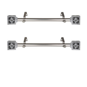 Ophelia Satin Nickel 20-Inch Side Curtain Rod, Set of 2