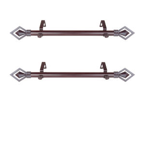 Lenore Mahogany 20-Inch Side Curtain Rod, Set of 2