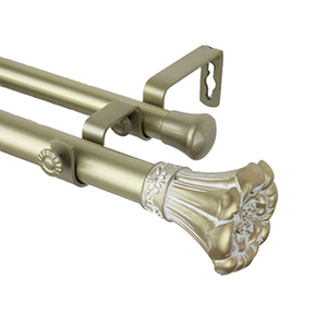 Blossom Light Gold 66 to 120-Inch Double Curtain Rod