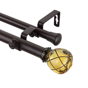 Supreme Clear Champagne 48 to 84-Inch Double Curtain Rod