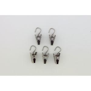 Satin Nickel Hook Clips, Set of 24