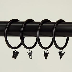 Black 2-1/2 Inch Heavy Duty Curtain Clip Rings, Set of 10