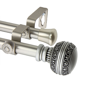 Ornament Satin Nickel 28 to 48-Inch Double Curtain Rod