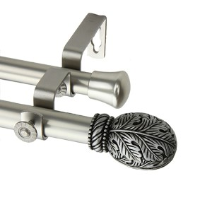 Forest Satin Nickel 66 to 120-Inch Double Curtain Rod