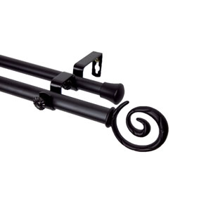 Spiral Black 66 to 120 Inch Double Curtain Rod