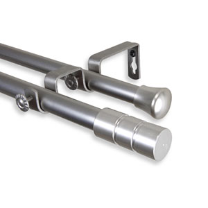 Theo Satin Nickel 120-170 Inch Double Curtain Rod