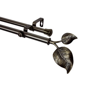 Ivy Antique Brass 28 to 48 Inch Double Curtain Rod