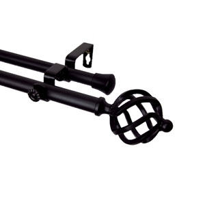 Twist Black 66 to 120 Inch Double Curtain Rod