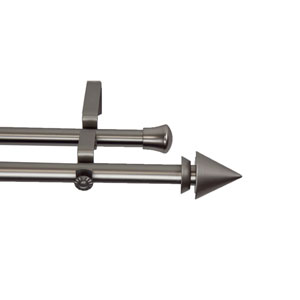 Cone Satin Nickel 66 to 120 Inch Double Curtain Rod