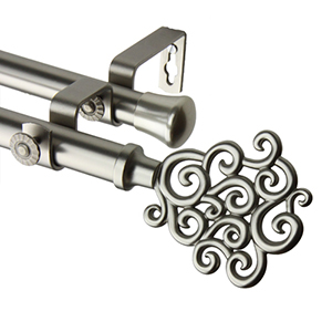 Tidal Satin Nickel 66 to 120-Inch Double Curtain Rod