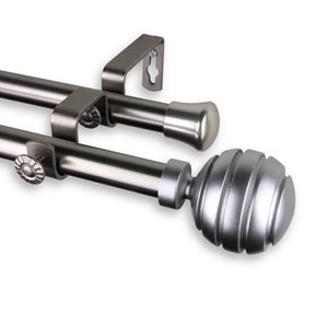 Poise Satin Nickel 66 to 120-Inch Double Curtain Rod