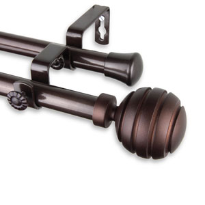 Poise Cocoa 66 to 120-Inch Double Curtain Rod