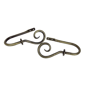 Curl Antique Brass Decorative Holdback, Set of 2