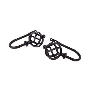 Twist Black Decorative Holdback Twist Finial, Set of 2