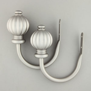Classic Satin Nickel Pumpkin Finial Holdback, Set of 2