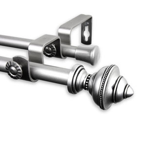 Palace Satin Nickel 28 to 48-Inch Double Curtain Rod