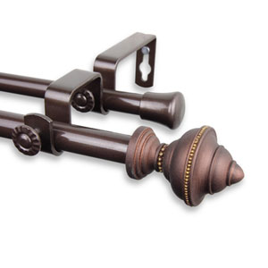 Palace Cocoa 28 to 48-Inch Double Curtain Rod