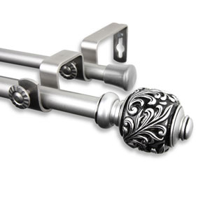 Tilly Satin Nickel 48 to 84-Inch Double Curtain Rod