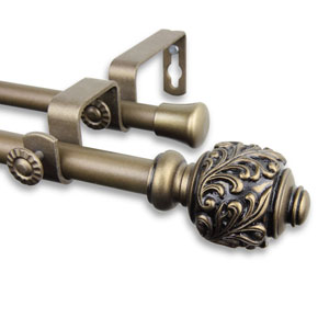 Tilly Antique Gold 84 to 120-Inch Double Curtain Rod