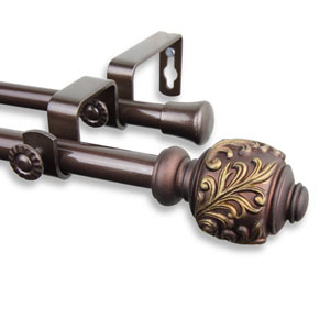 Tilly Cocoa 84 to 120-Inch Double Curtain Rod