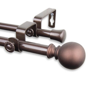 Luna Cocoa 48 to 84-Inch Double Curtain Rod