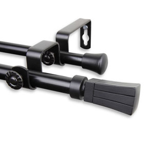 Flare Black 28 to 48-Inch Double Curtain Rod
