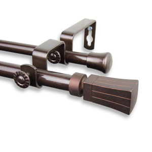 Flare Cocoa 84 to 120-Inch Double Curtain Rod