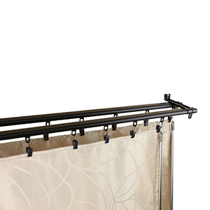 Regal Black 66 to 120-Inch Double Curtain Track