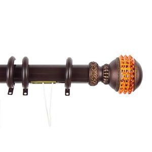 Elite Mahogany 48 to 84 Inch Decorative Traverse Rod w/ Rings Gemstone Finial