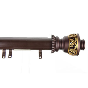 Elite Mahogany 66 to 120 Inch Decorative Traverse Rod w/ Sliders Lattice Finial