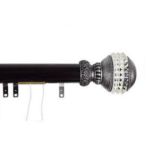 Elite Black 48 to 84 Inch Decorative Traverse Rod w/ Sliders Gemstone Finial