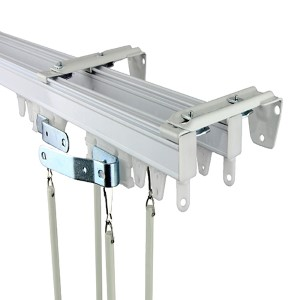 Commercial Wall/Ceiling White 144-Inch Double Curtain Track Kit
