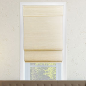 Cordless Abaca Cream 48 x 64 In. Double Layered Roman Shade