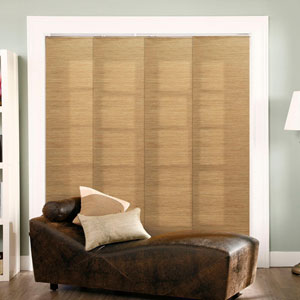 French Sandalwood 96 x 78-Inch Cordless Double Rail Sliding Panel System