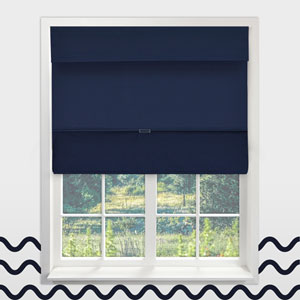 Cordless Sailors Navy 26.5 In. x 64 In. Magnetic Roman Shade