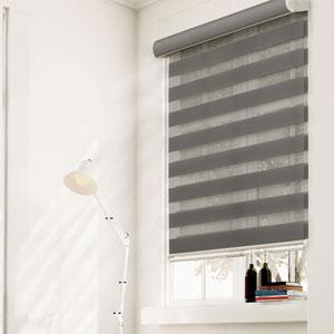 Cordless Striped Granite 57.5 In. x 72 In. Zebra Roller Shade
