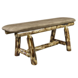 Glacier Country Stain and Lacquer Plank Style Bench with Buckskin Upholstery