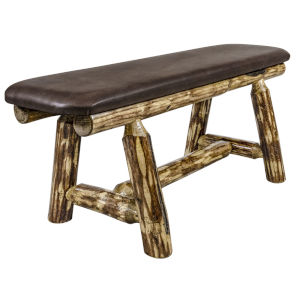 Glacier Country Stain and Lacquer Plank Style Bench with Saddle Upholstery