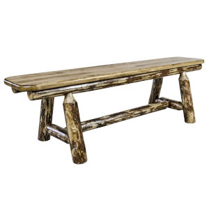 Glacier Country Stain and Lacquer Plank Style Bench