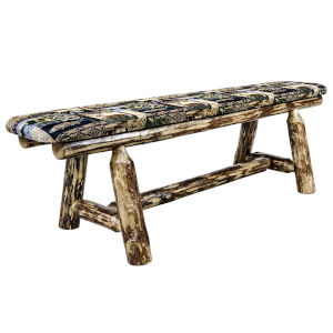 Glacier Country Stain and Lacquer 5 Foot Plank Style Bench with Woodland Upholstery