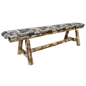 Glacier Country Stain and Lacquer 6 Foot Plank Style Bench with Woodland Upholstery