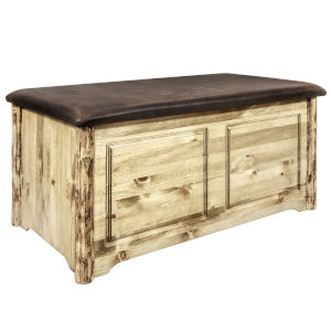 Glacier Country Stain and Lacquer Blanket Chest with Saddle Upholstery