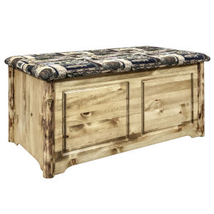 Glacier Country Stain and Lacquer Blanket Chest with Woodland Upholstery