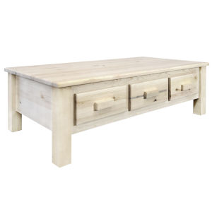 Homestead Clear Lacquer Coffee Table with Six Drawers